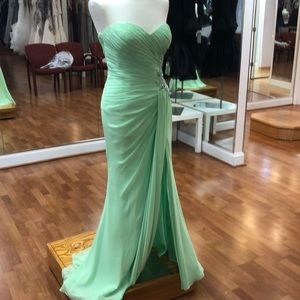 Mint green prom dress with rhinestones and sequins